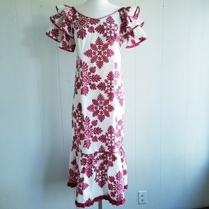 1980s Hoku, Made in Hawaii, Red & White Maxi Dress